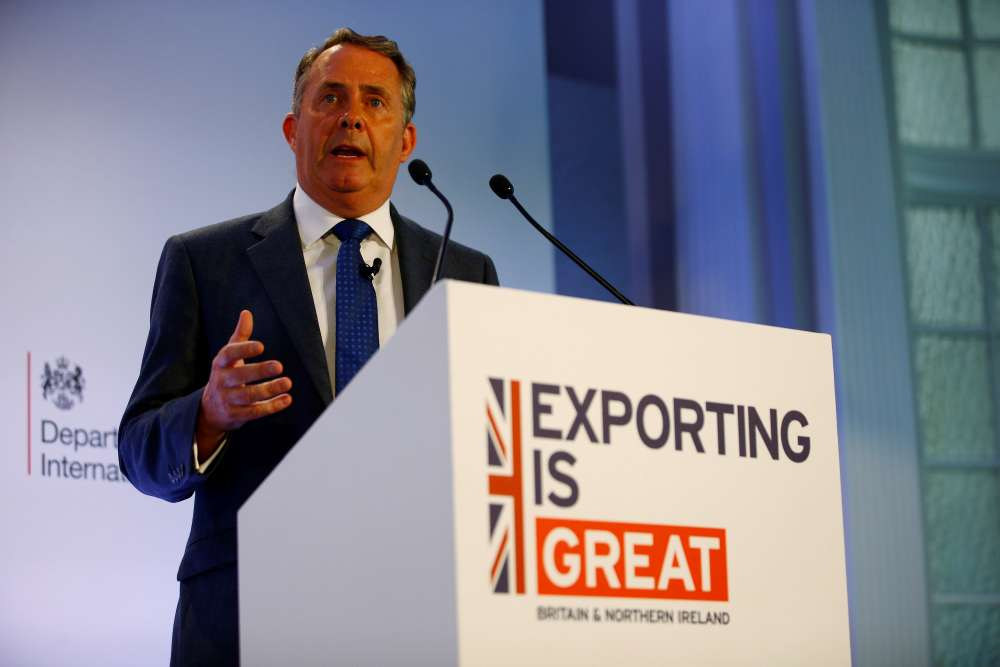 UK says aims to boost exports to 35 pct of GDP