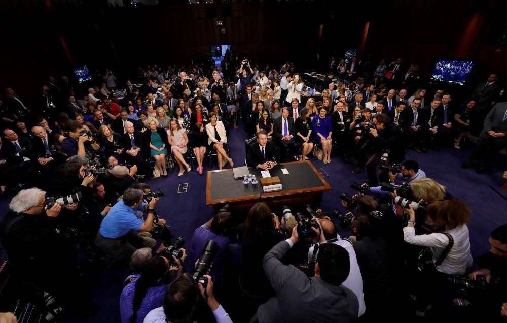Democrats protest as U.S. high court nominee's chaotic hearing opens