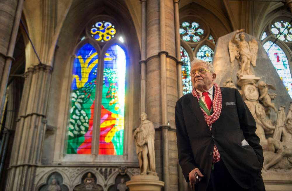 Westminster Abbey unveils Queen's window designed by artist Hockney