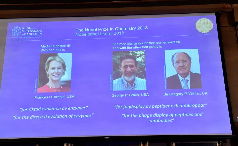 Briton and two Americans win 2018 Nobel Chemistry Prize