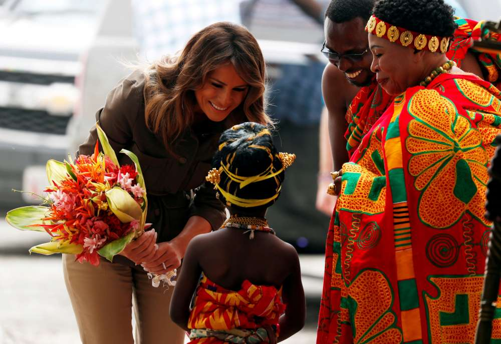 Melania Trump lays wreath at 'emotional' slave castle in Ghana