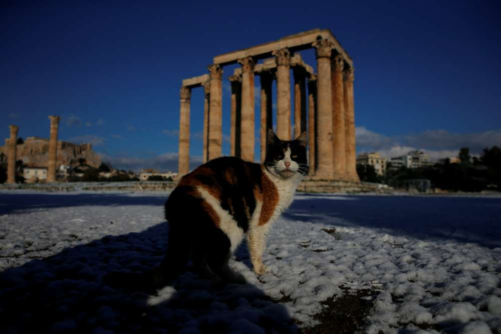Athens gets snow as Greece shivers in record cold spell