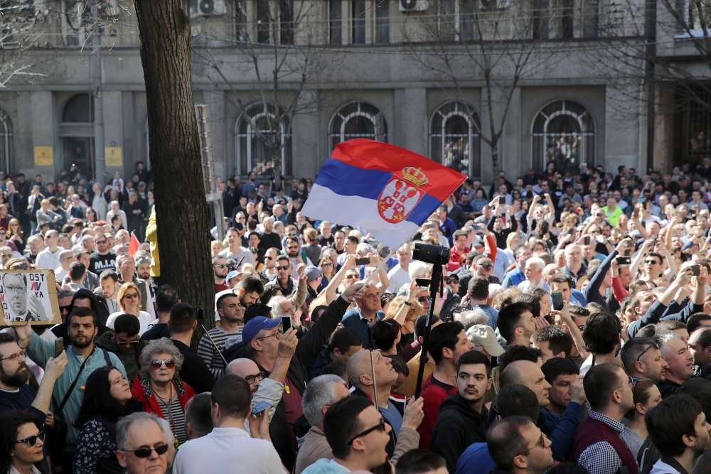 Protesters rally outside Serbia president's residence