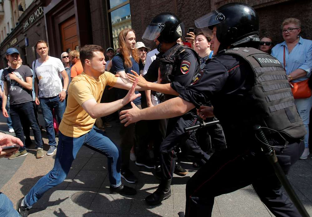Russian police detain 317 people over election protest - monitor