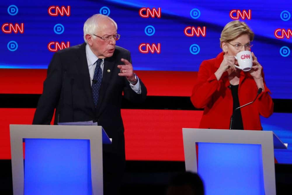 Sanders and Warren defend progressive policies in U.S. Democratic debate
