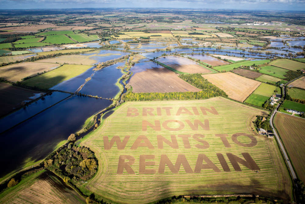 Anti-Brexit campaigners plough giant message into an English field (video)
