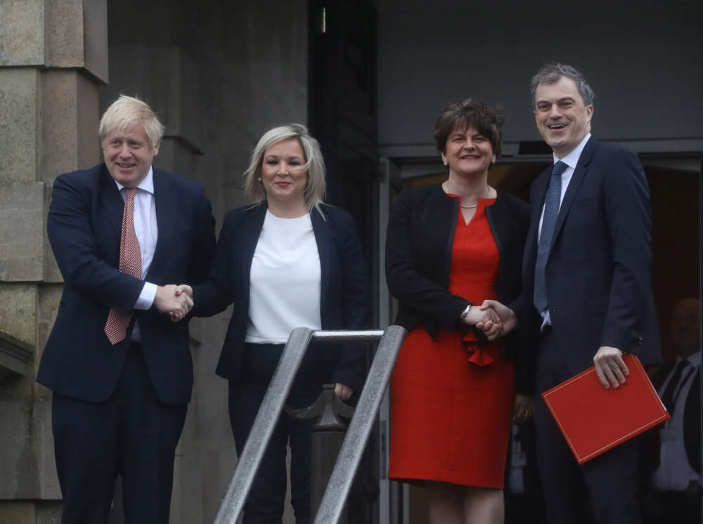 UK PM Johnson visits N.Ireland to meet new executive