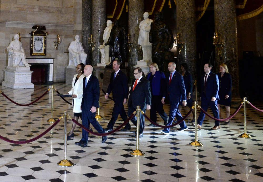 Pomp and circumstance as Democrats deliver impeachment articles to Senate