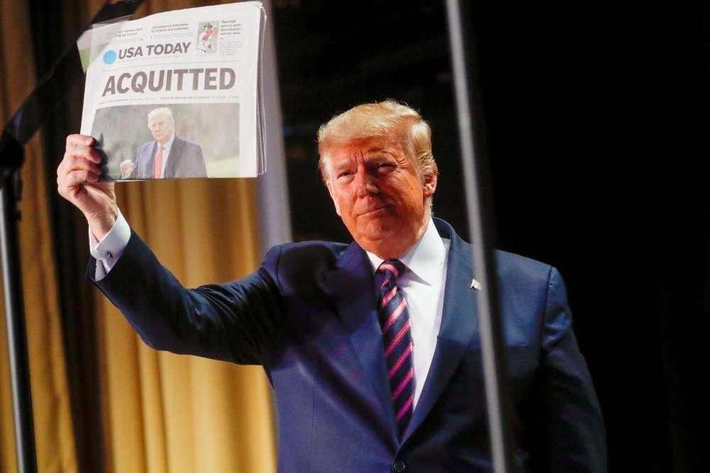 Trump blasts 'dishonest and corrupt' Democrats after impeachment drama