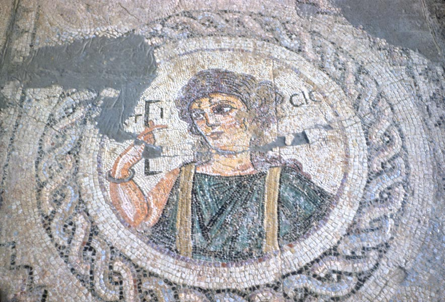 Sanctuary of Apollo. Baths: Ktisis mosaic. Kourion, Cyprus excavations.
