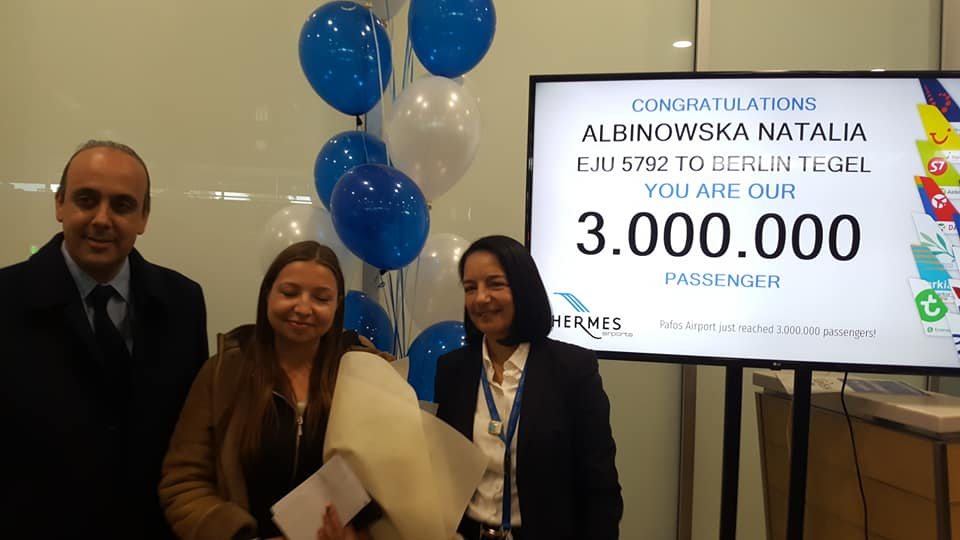 Paphos Airport welcomes three millionth passenger for 2019