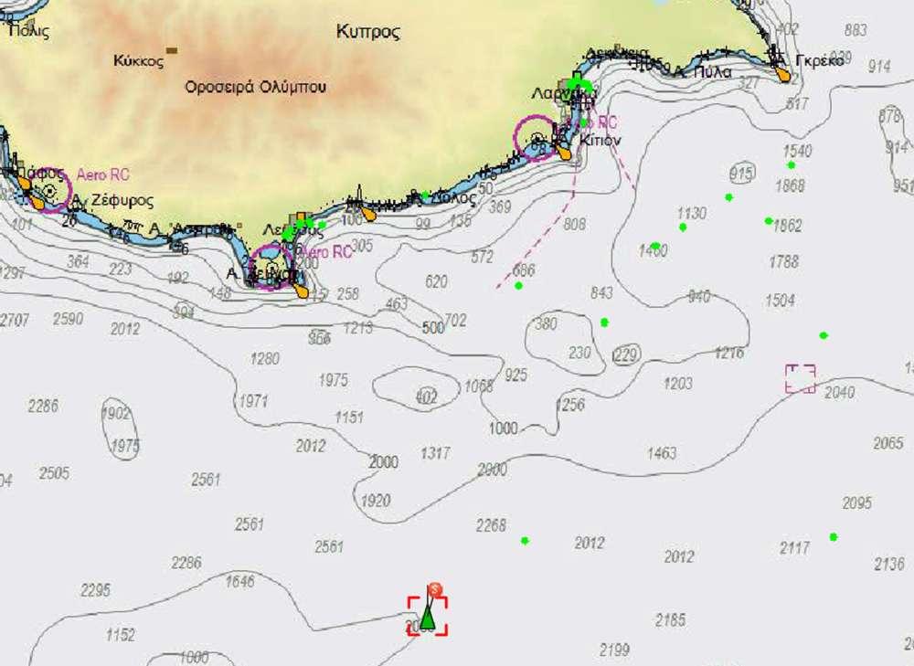 Turkey's Barbaros south of Limassol (maps)