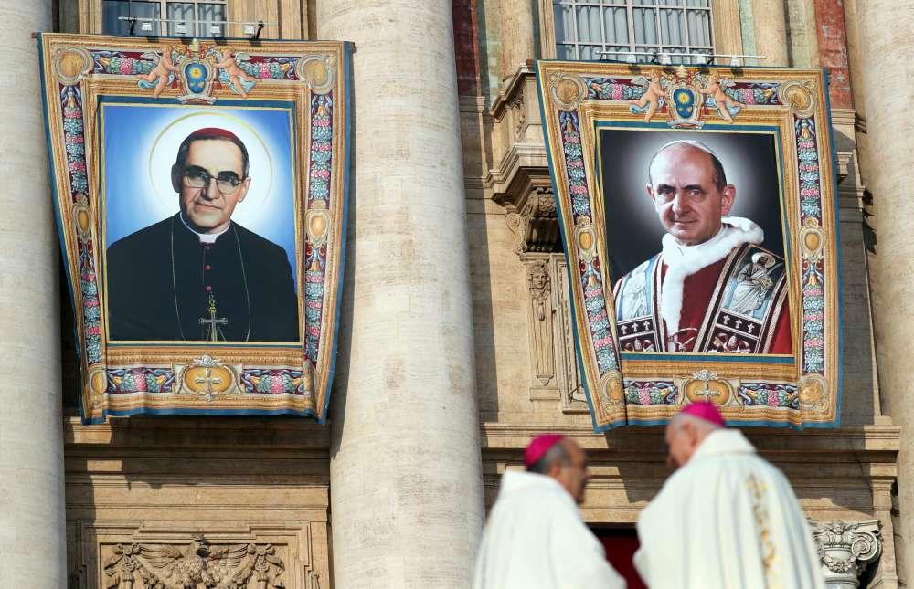 Slain Salvadoran bishop Romero and Pope Paul VI become saints