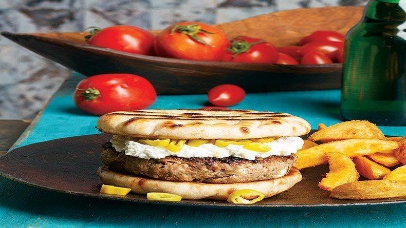 Greek burger with feta and tirokafteri