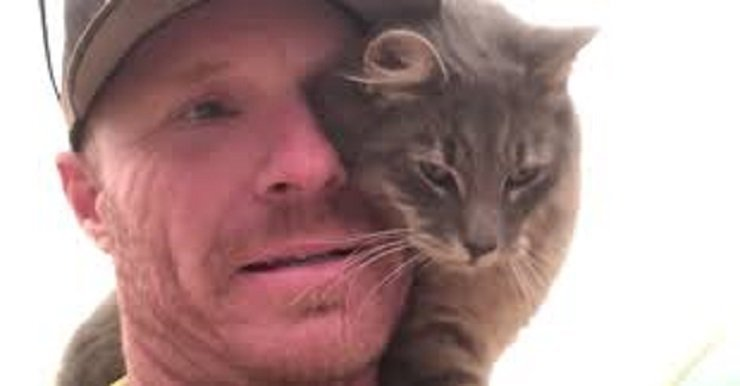 Cat saved by fireman in California refuses to leave rescuer (video)