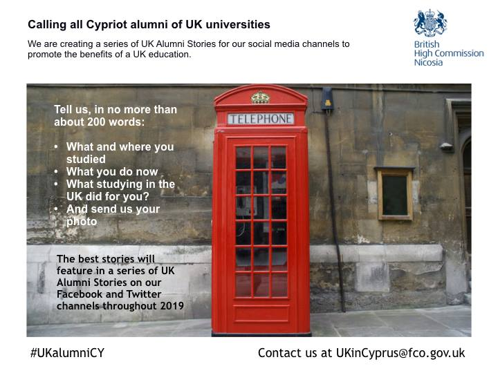 High Commission calls for stories from Cypriot alumni of U.K. universities