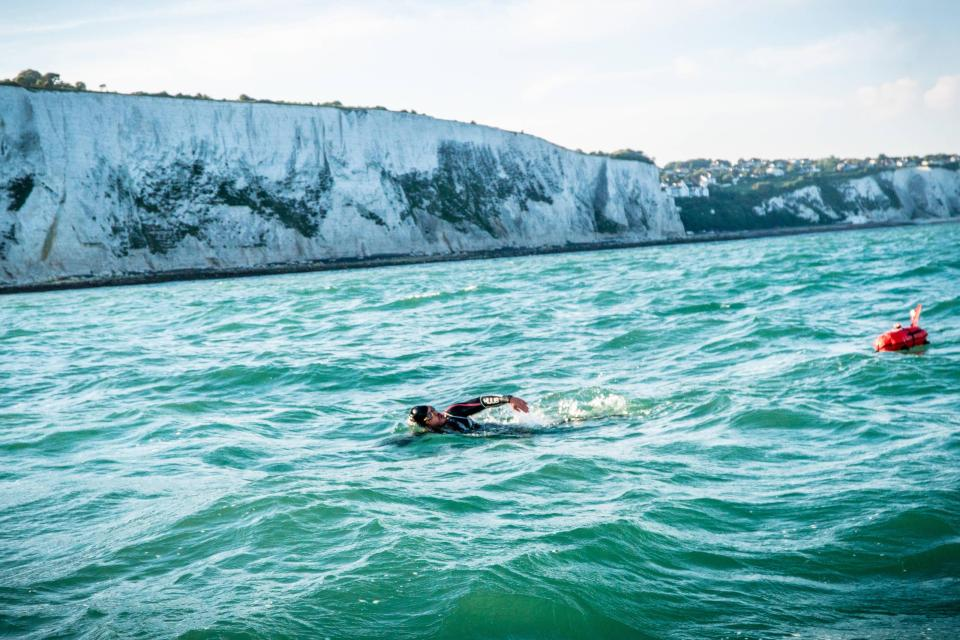 Intrepid Edgley back on dry land after 157 days swimming around Britain