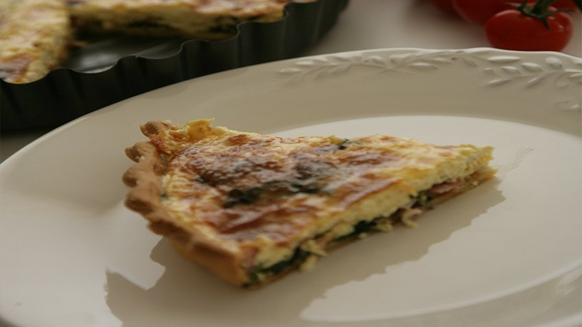 Spinach and goat's cheese quiche