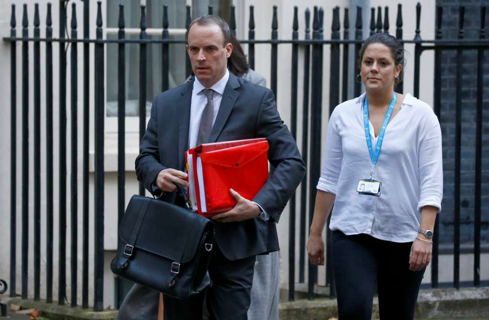 Update: Britain's Brexit minister Raab quits; three more ministers resign