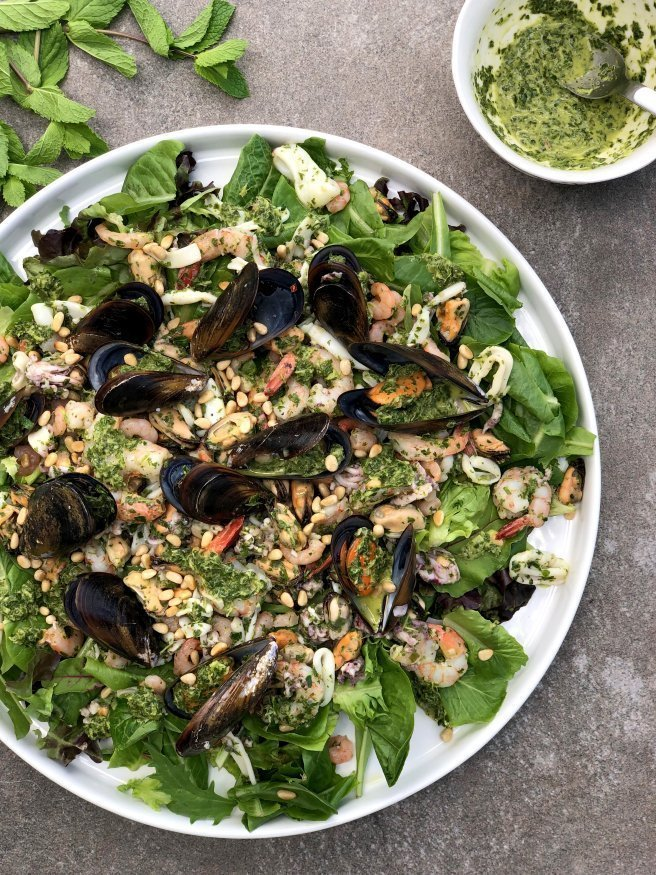 Seafood Salad with Coriander-Mint Pesto