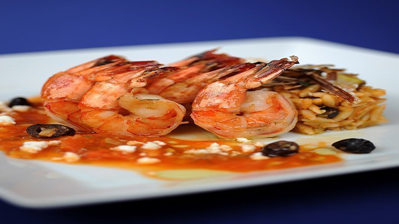 Shrimp saganaki with orzo and fennel