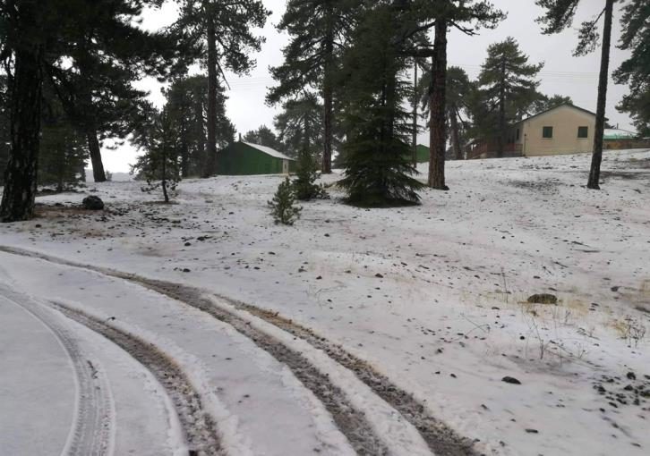 Heavy hail turns Troodos white (pictures)