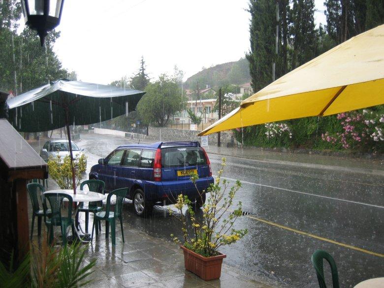 Heavy rain in Troodos Mountains