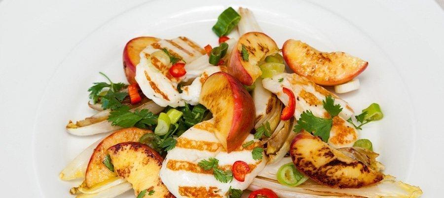 Warm Halloumi and Peach Salad