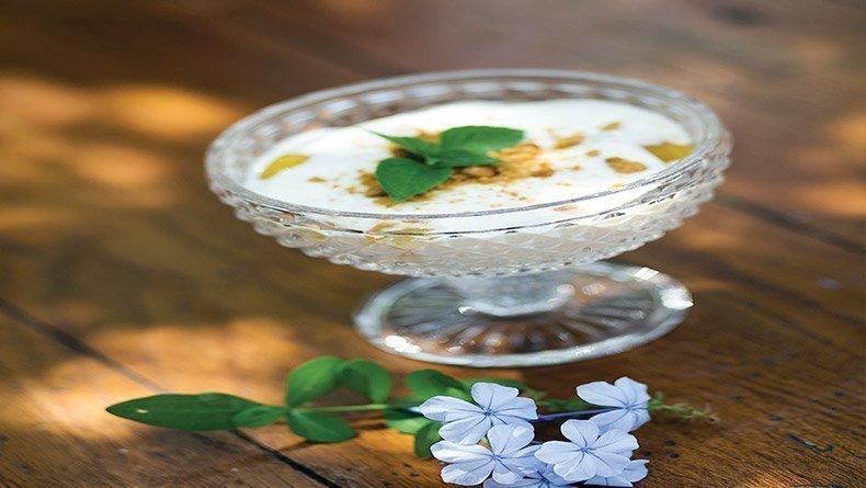 Yoghurt dessert with orange