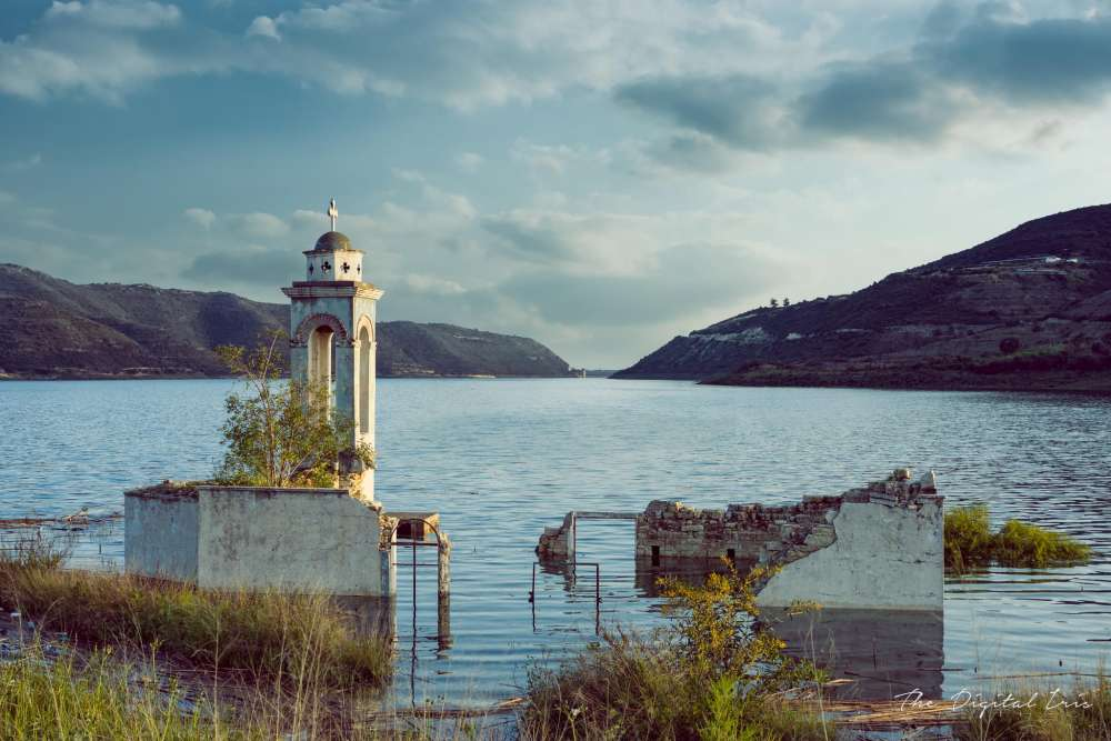 The submerged church of Ayios Nikolas in Kouris dam