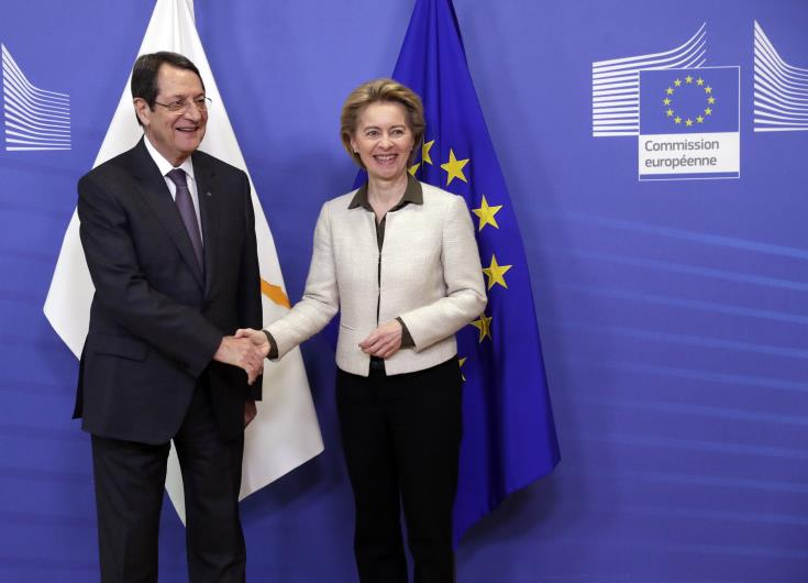 President Anastasiades raises Cyprus issue and halloumi case during meeting with Von Der Leyen