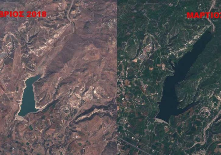 Satellite pictures of Cyprus' dams before and after the rains