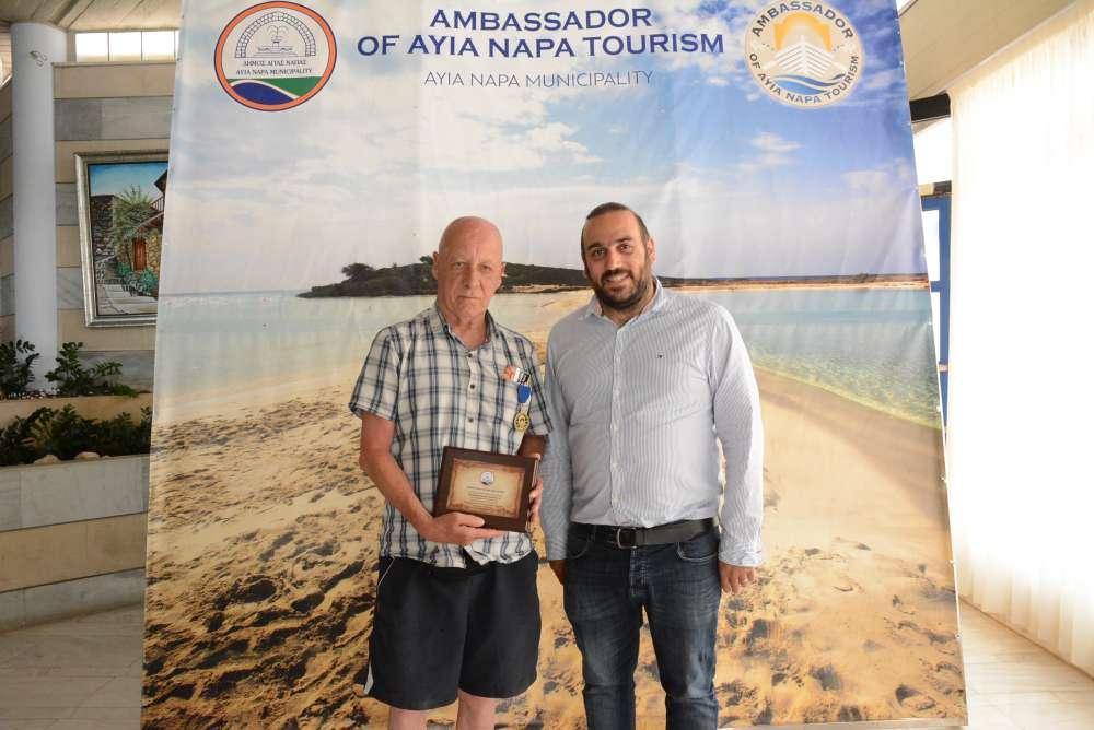 Briton honoured for visiting Ayia Napa 35 times