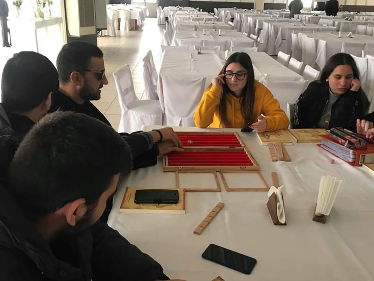 Paralimni pupils make backgammon set for blind