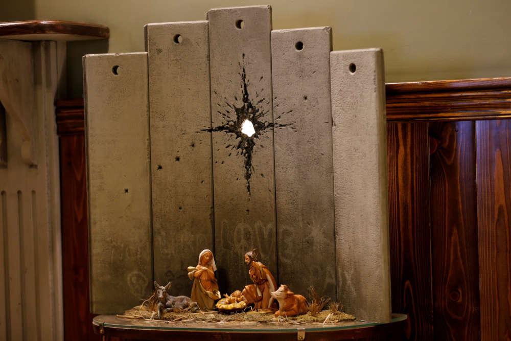 Banksy's 'Scar of Bethlehem' nativity unveiled in West Bank hotel