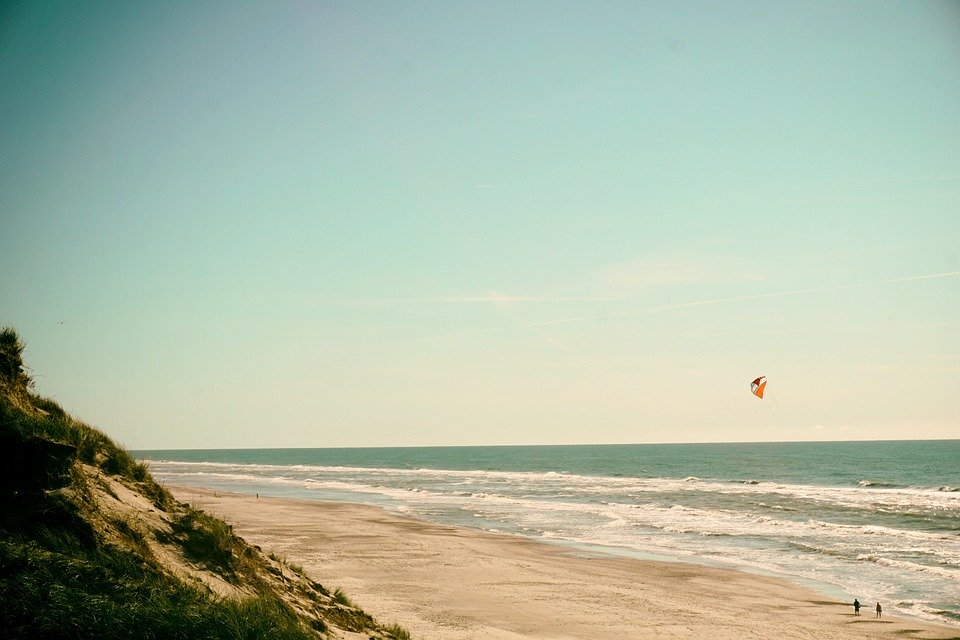 Beach, Kite, Wind, Waves, Summer, Vacation, Sea