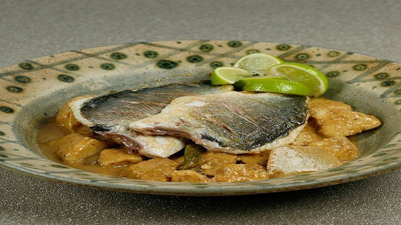 Bream with curry taro