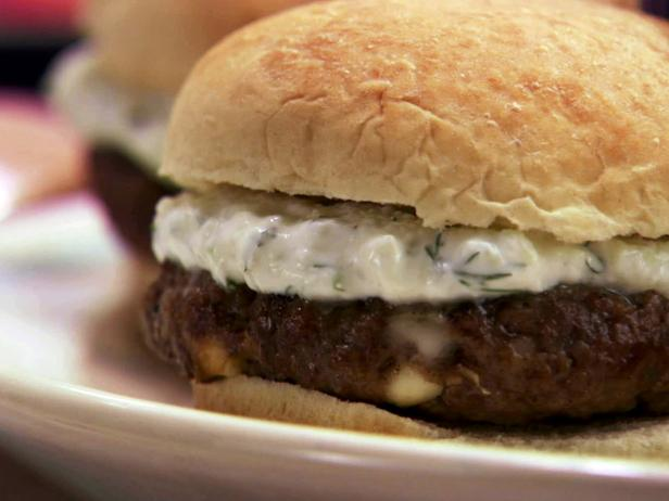 Burgers with feta cheese and mint