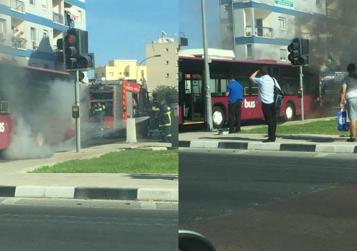 Bus catches fire outside Larnaca fire station