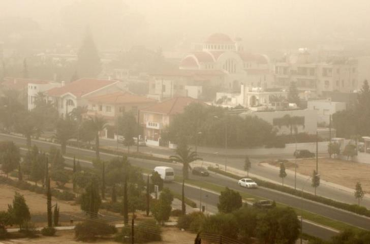 High levels of dust in atmosphere. Rain later today may help 'wash out' particles from the air