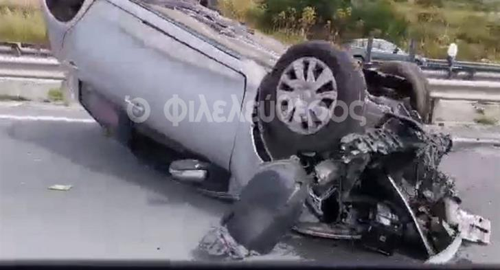 Car rolls over in accident on Nicosia-Limassol highway