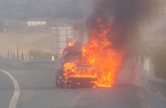 Car catches fire on Nicosia-Limassol highway; no injuries