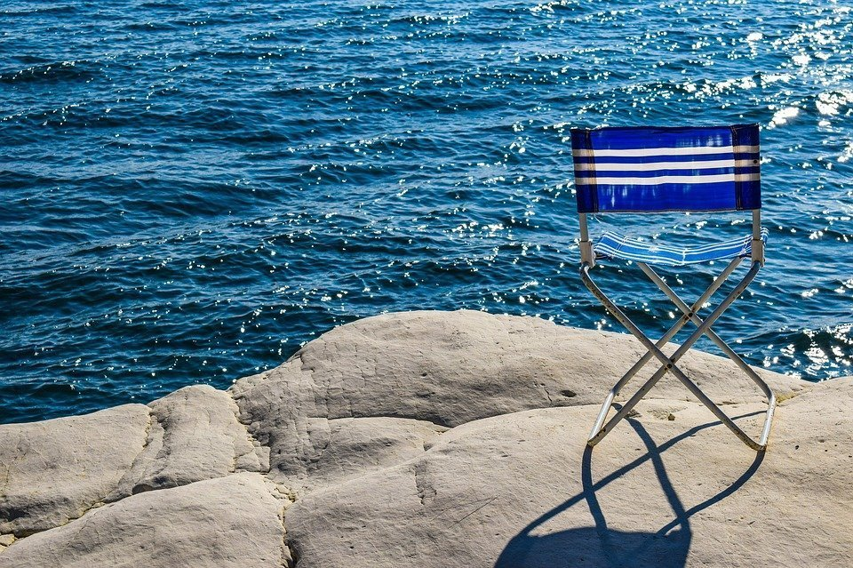 Chair, Blue, Sea, Rock, White, Beach, Color, Light