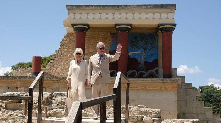 Prince Charles & Camilla visit archaeological site of Knossos