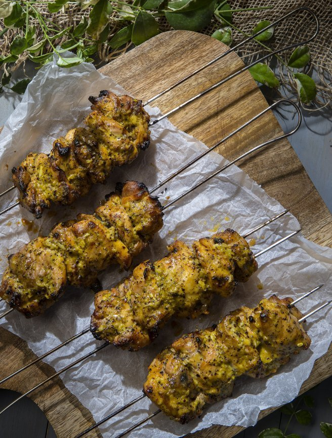 Chicken Skewers with Saffron-Tahini Marinade