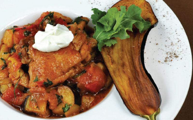 Chicken with aubergine and cherry tomatoes