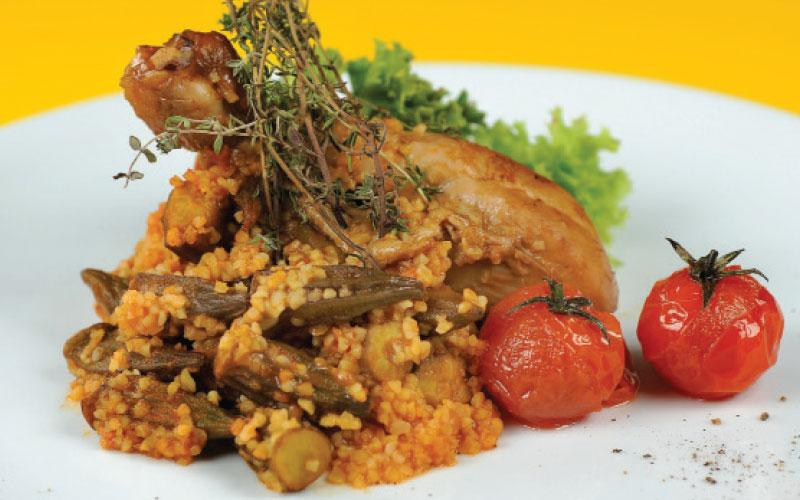 Chicken with okra and bulgur wheat