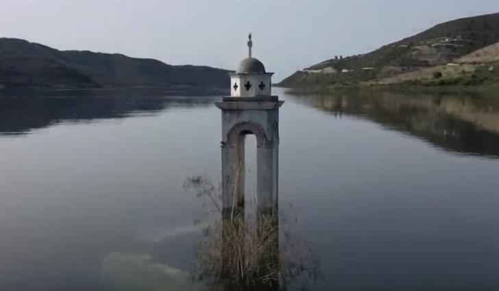 Magical footage of the submerged church of Ayios Nicolaos at Kouris (video)