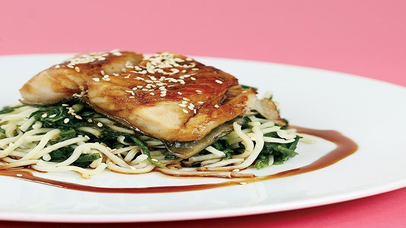 Black cod with noodles