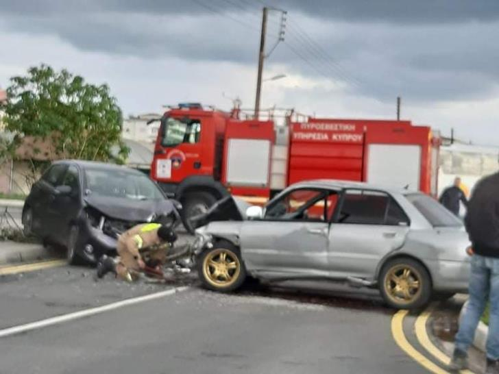 Head on car collision in Paphos